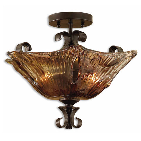 Uttermost Vetraio 2 Lt Semi Flush Mount w/ Heavy Hand Made Glass Shade
