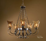 Uttermost Vetraio 5 Lt Chandelier w/ Heavy Hand Made Glass