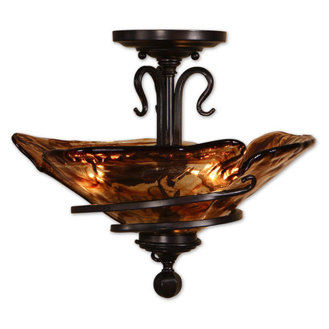 Uttermost Vitalia 3 Lt Semi Flush Mount w/ Hand Made Glass Shade