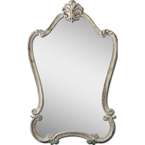 Uttermost Walton Hall Wall Mirror in Distressed Antique White
