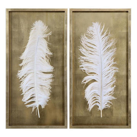 Uttermost White Feathers Gold Shadow Box - Set of 2