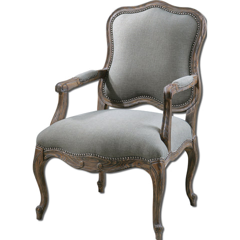 Uttermost Willa Arm Chair w/ Pine & White Mahogany Frame