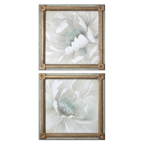 Uttermost Winter Blooms Floral Art - Set of 2