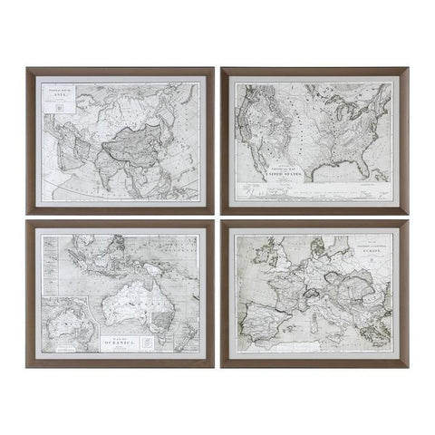 Uttermost World Maps Framed Prints - Set of 4