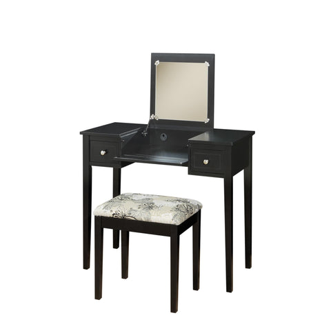 Vanity Set Black With Butterfly Bench