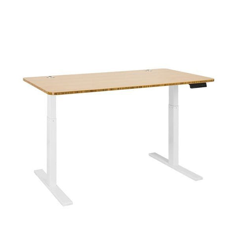 Vifah A54-A9 Autonomous SmartDesk - Height-Adjustable Standing Desk - Single Motor - White Frame - Bamboo Classic Top