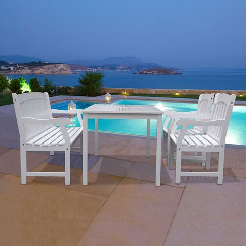 Vifah Bradley V1336SET10 Wood 4 Piece Outdoor Dining Set w/Bench in White