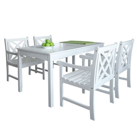 Vifah Bradley V1336SET16 Wood 5 Piece Outdoor Dining Set in White