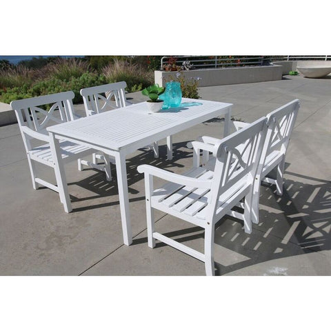 Vifah Bradley V1336SET2 Wood 5 Piece Outdoor Dining Set in White