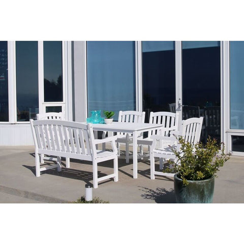 Vifah Bradley V1336SET21 Wood 6 Piece Outdoor Dining Set w/Bench in White