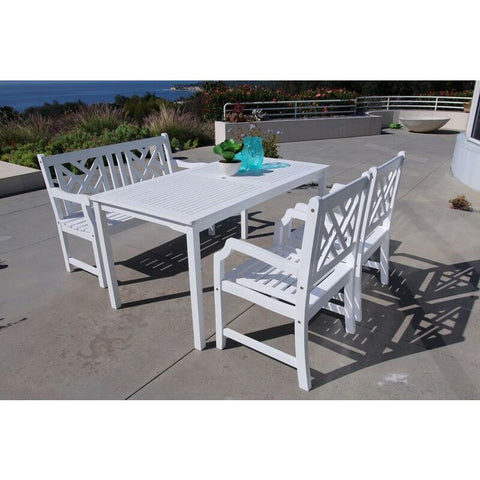 Vifah Bradley V1336SET22 Wood 4 Piece Outdoor Dining Set w/Bench in White