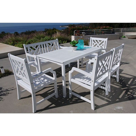 Vifah Bradley V1336SET23 Wood 6 Piece Outdoor Dining Set w/Bench in White