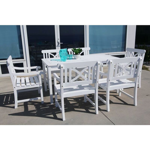Vifah Bradley V1336SET3 Wood 7 Piece Outdoor Dining Set in White