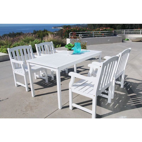 Vifah Bradley V1336SET6 Wood 5 Piece Outdoor Dining Set in White