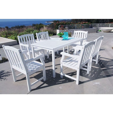 Vifah Bradley V1336SET7 Wood 7 Piece Outdoor Dining Set in White