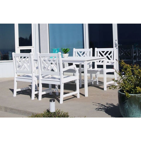 Vifah Bradley V1336SET8 Wood 5 Piece Outdoor Dining Set in White