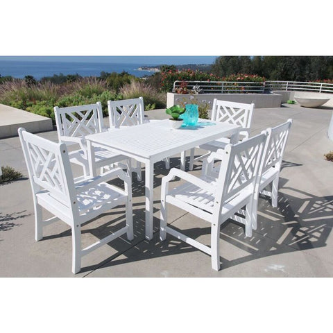 Vifah Bradley V1336SET9 Wood 7 Piece Outdoor Dining Set in White
