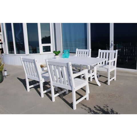 Vifah Bradley V1337SET16 Wood 5 Piece Outdoor Dining Set in White