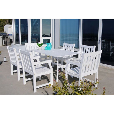 Vifah Bradley V1337SET17 Wood 7 Piece Outdoor Dining Set in White