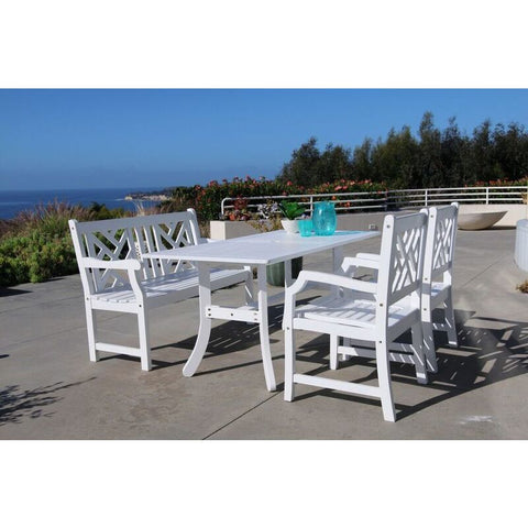 Vifah Bradley V1337SET20 Wood 4 Piece Outdoor Dining Set w/Bench