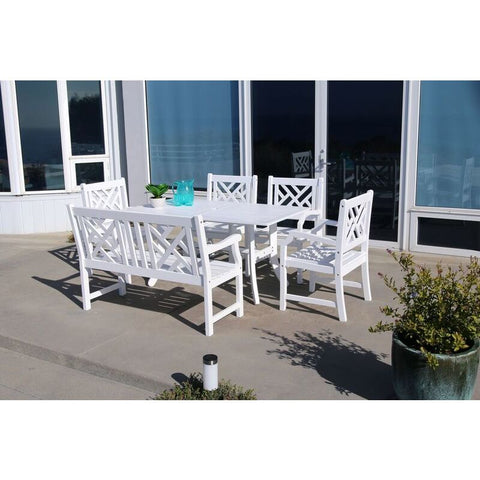 Vifah Bradley V1337SET21 Wood 6 Piece Outdoor Dining Set w/Bench in White
