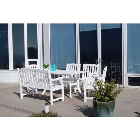 Vifah Bradley V1337SET23 Wood 6 Piece Outdoor Dining Set w/Bench in White