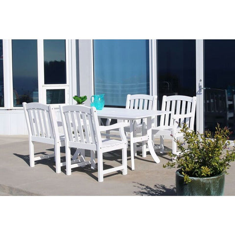 Vifah Bradley V1337SET6 Wood 5 Piece Outdoor Dining Set in White