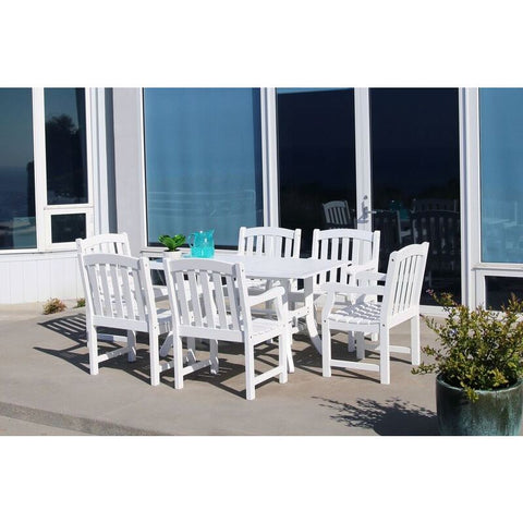Vifah Bradley V1337SET7 Wood 7 Piece Outdoor Dining Set in White