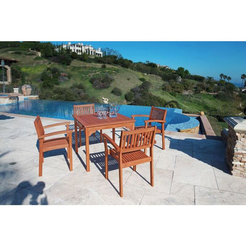 Vifah Malibu V1104SET1 Natural Wood 5 Piece Outdoor Dining Set