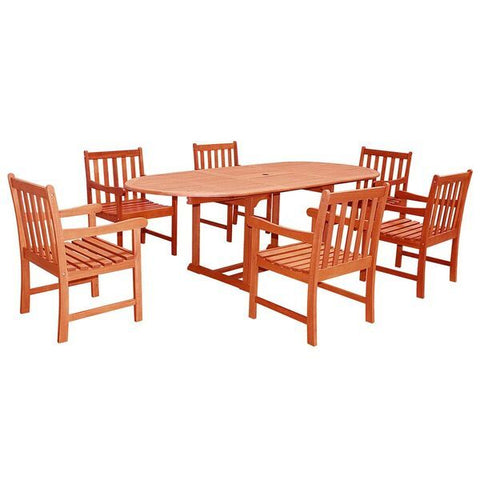 Vifah Malibu V144SET23N Natural Wood 7 Piece Outdoor Dining Set w/Extention Table