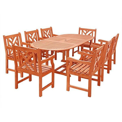 Vifah Malibu V144SET24N Natural Wood 9 Piece Outdoor Dining Set w/Extention Table