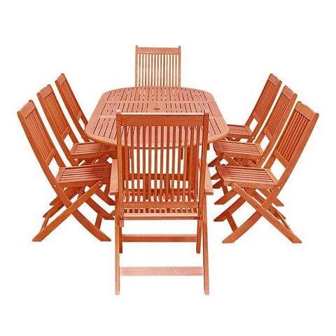 Vifah Malibu V144SET26N Natural Wood 9 Piece Outdoor Dining Set w/Extention Table & Folding Chairs