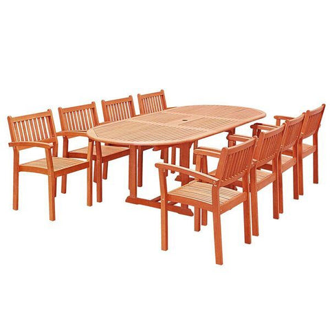 Vifah Malibu V144SET28N Natural Wood 9 Piece Outdoor Dining Set w/Extention Table & Stacking Chairs