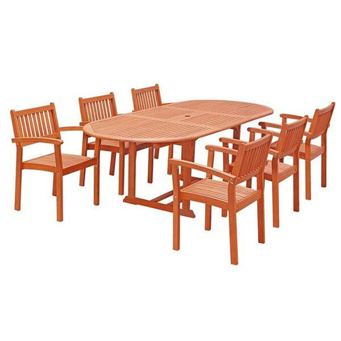 Vifah Malibu V144SET30 Natural Wood 7 Piece Outdoor Dining Set w/Extention Table & Stacking Chairs