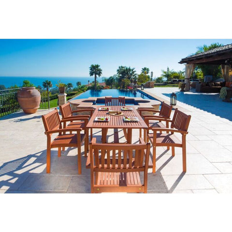Vifah Malibu V187SET4 Natural Wood 7 Piece Outdoor Dining Set w/Stacking Chairs