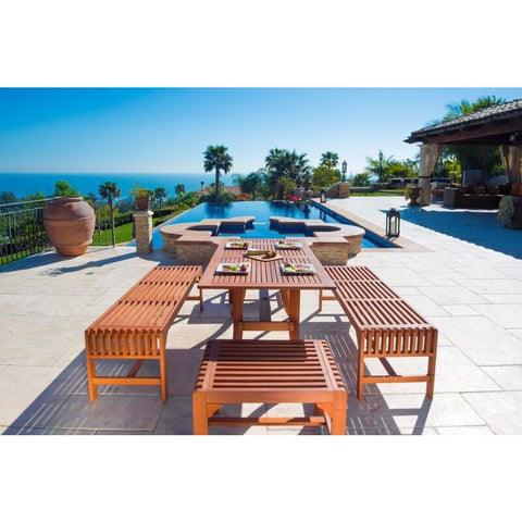 Vifah Malibu V189SET12 Natural Wood 5 Piece Outdoor Backless Dining Set