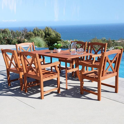 Vifah Malibu V189SET23 Natural Wood 7 Piece Outdoor Dining Set