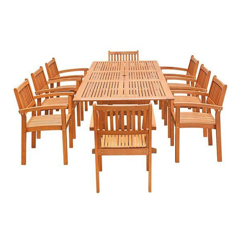 Vifah Malibu V232SET33 Natural Wood 9 Piece Outdoor Dining Set w/Extention Table & Stacking Chairs