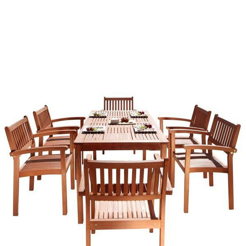 Vifah Malibu V98SET10 Natural Wood 7 Piece Outdoor Dining Set w/Stacking Chairs