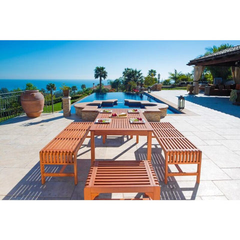 Vifah Malibu V98SET36 Natural Wood 5 Piece Outdoor Dining Set