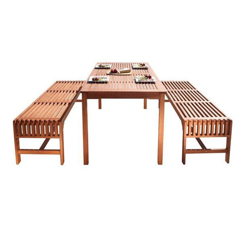 Vifah Malibu V98SET5 3 Piece Outdoor Dining Set in Natural Wood