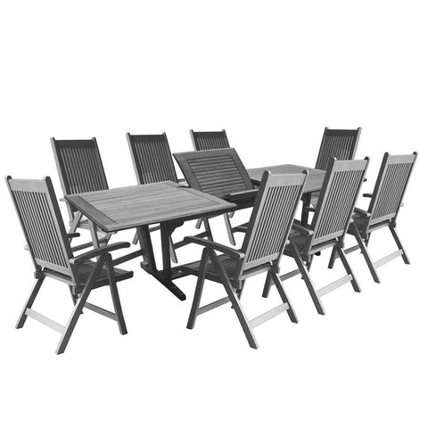 Vifah V1294SET21 Renaissance Outdoor Patio Hand-Scraped Wood 9-piece Dining Set w/Extension Table