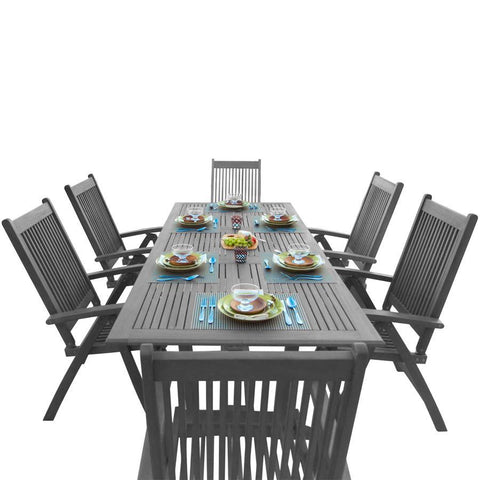 Vifah V1294SET22 Renaissance Outdoor Patio Hand-Scraped Wood 7-piece Dining Set w/Extension Table