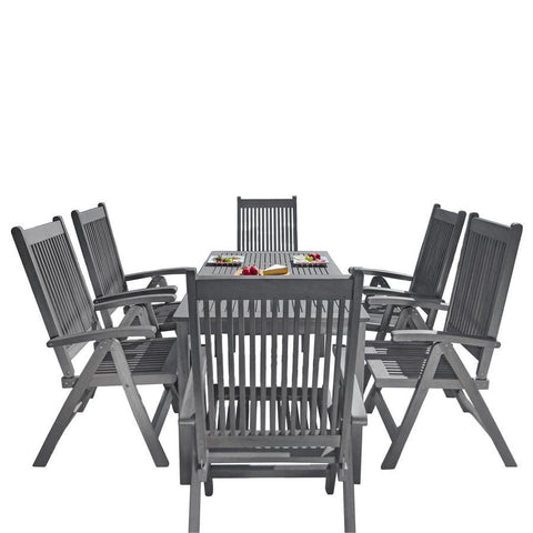 Vifah V1297SET26 Renaissance Outdoor Patio Hand-Scraped Wood 7-piece Dining Set w/Reclining Chairs