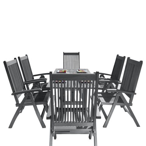 Vifah V1300SET11 Renaissance Outdoor Patio Hand-Scraped Wood 7-piece Dining Set w/Reclining Chairs