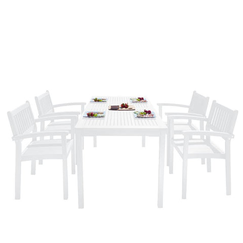 Vifah V1336SET24 Bradley Outdoor Patio Wood 5-piece Dining Set w/Stacking Chairs