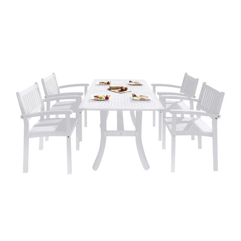 Vifah V1337SET25 Bradley Outdoor Patio Wood 5-piece Dining Set w/Stacking Chairs