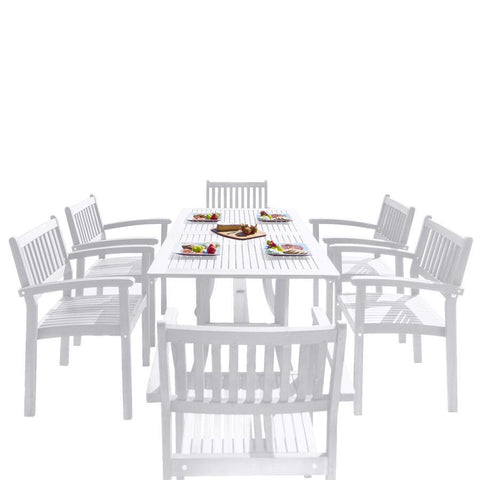 Vifah V1337SET26 Bradley Outdoor Patio Wood 7-piece Dining Set w/Stacking Chairs