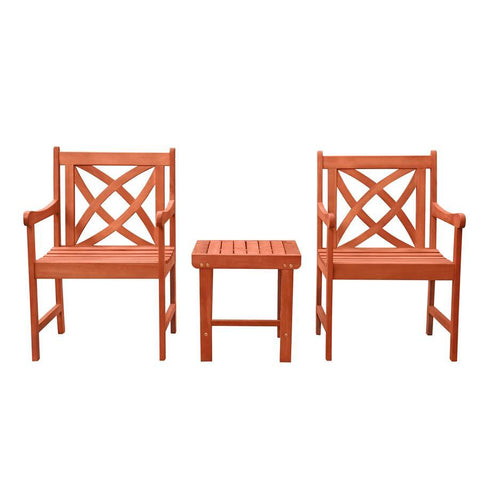 Vifah V1802SET6 Malibu Outdoor Patio 3-Piece Wood Dining Set