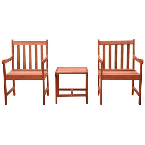 Vifah V1802SET7 Malibu Outdoor Patio 3-Piece Wood Dining Set